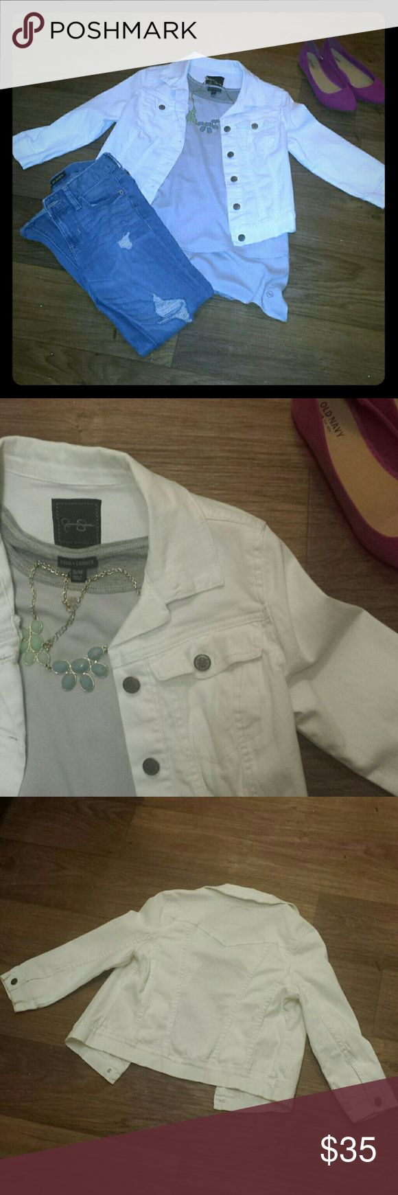 Jessica Simpson White Denim Jacket JS 3/4 Sleeve White Denim Jacket. Collared, Button Down Front, Breast Pockets, Machine Wash, Cotton/Spandex. Only worn once or twice. Perfect, Basic item you need in your wardrobe!!!! Jessica Simpson Jackets & Coats Jean Jackets