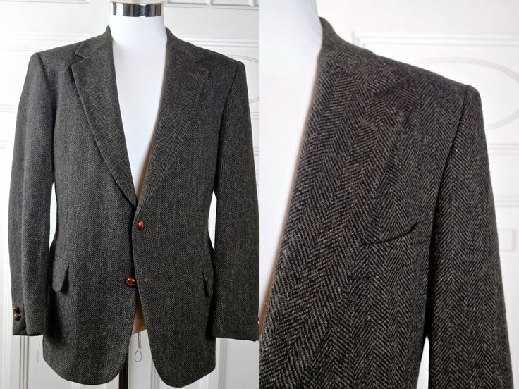 Herringbone Tweed Blazer, Men's Vintage Sport Coat, Brown Wool European Retro Tweed Jacket, European Wool Blazer: Size 38 US/UK by YouLookAmazing on Etsy