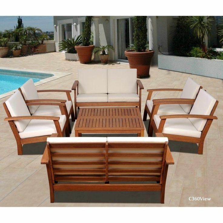 Wooden eucalyptus outdoor 8 piece conversation garden for Eucalyptus patio furniture
