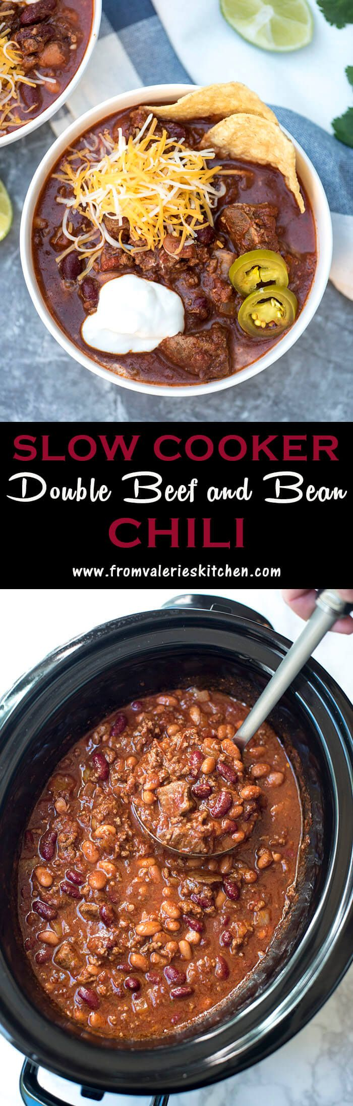 Slow Cooker Double Beef and Bean Chili is hearty red chili that includes both cubed and ground beef, two kinds of beans, and a delicious blend of spices.