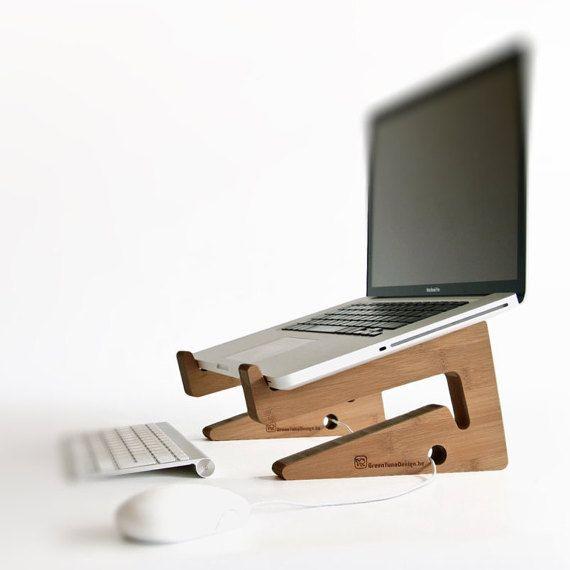 Stand de bois pour ordinateur portable macbook pc for Petit bureau pour ordinateur portable