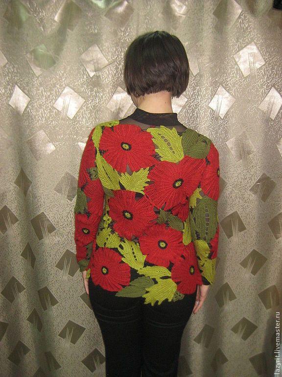 """Купить Джемпер""""Маки"""" - цветочный, теплый, нарядный, модная одежда, эксклюзивный, ирландское кружево"""