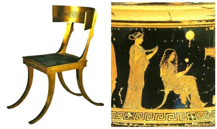 Cadeira Klismos clássica e detalhe de vaso grego com representação de cena do cotidiano feminino.