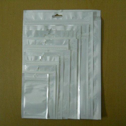 Sample Set! White/Clear Self Seal Zipper Plastic Retail Packaging Pack Poly Bag Ziplock Zip Lock Storage Bag Package Hang Hole