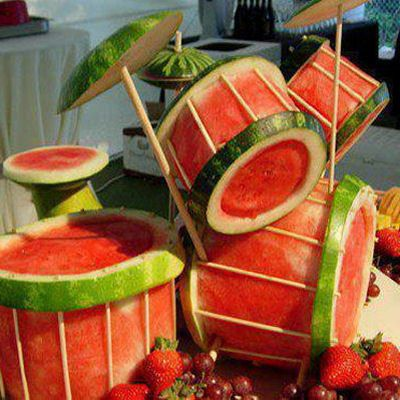 Watermelon drum set! Food Art Pictures: http://myhoneysplace.com/food-art-pictures/