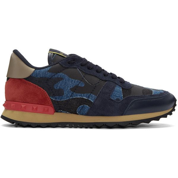 Valentino Blue Camo Rockrunner Sneakers featuring polyvore, men's fashion, men's shoes, men's sneakers, blue, mens lace up shoes, mens blue sneakers, valentino mens sneakers, mens leather sneakers and mens leather lace up shoes