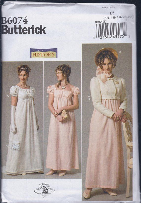996358c9bd Butterick 6074 Misses Women s Regency Jane Austen Dress Spencer Jacket  UNCUT Sewing Pattern