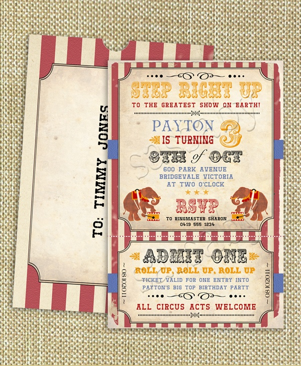 vintage circus invite: Diy Printable, Birthday Parties, Vintage Circus, Circus Invitations, 1St Birthday, Circus Birthday, Parties Ideas, Parties Invitations, Circus Parties