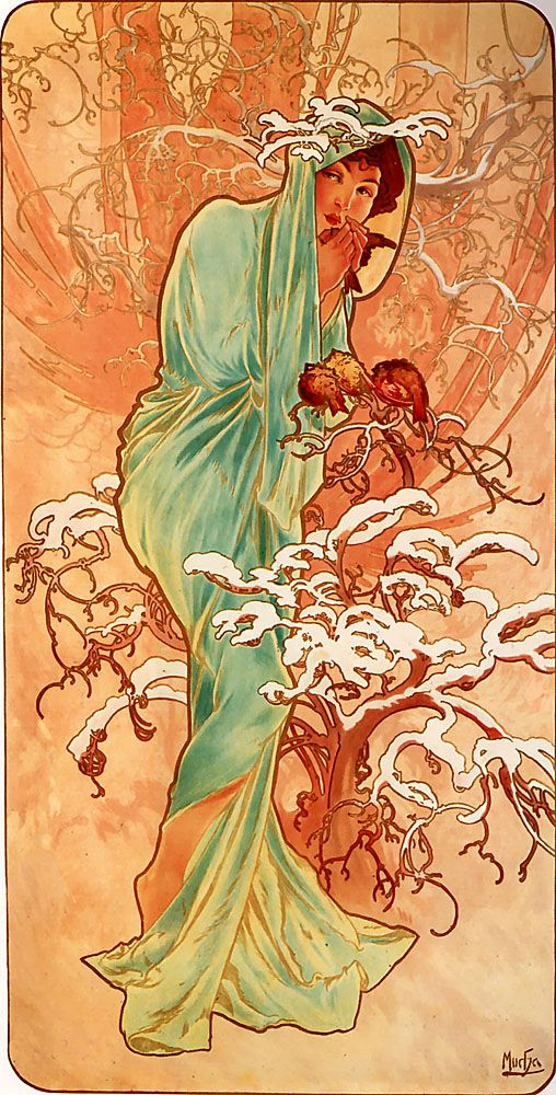 Vintage et cancrelats: Alfons Maria Mucha. The Four Seasons: Winter, 1896