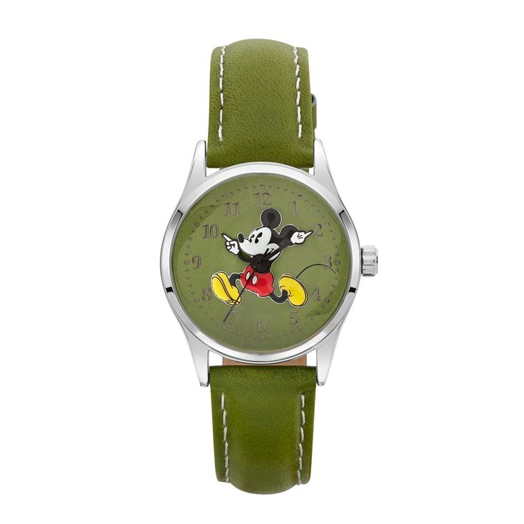 The Original Mickey Collection Watch - Silver + Olive 34mm