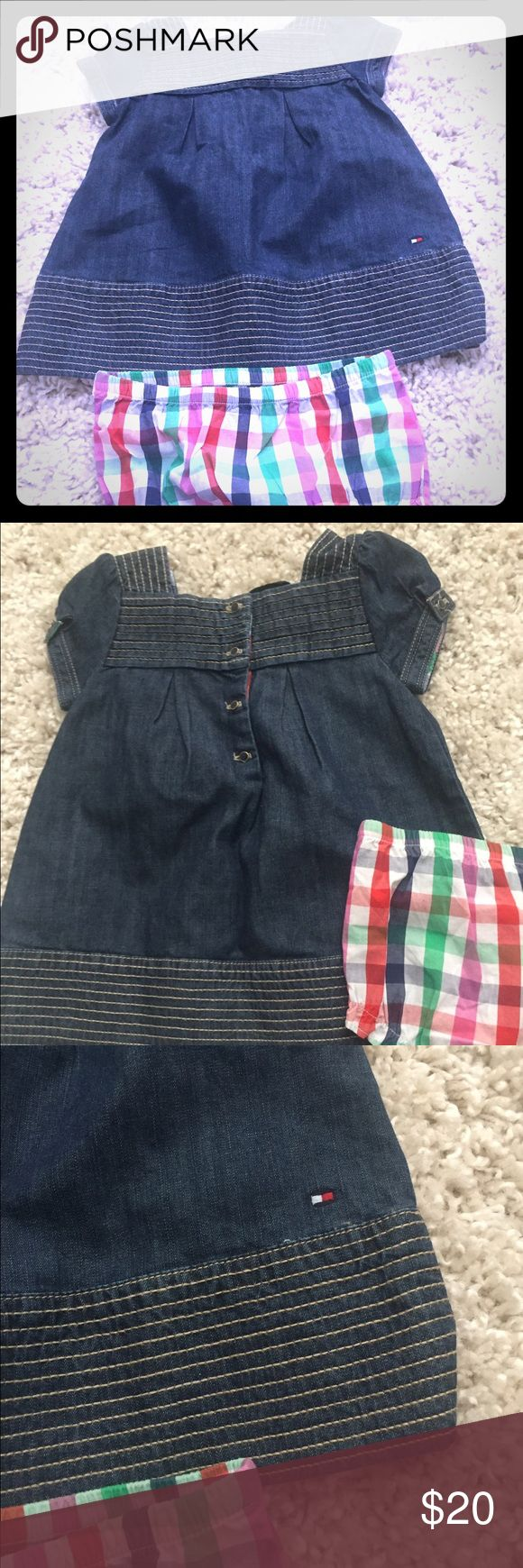 12mo Tommy Hilfiger dress Absolutely adorable little 12mo Tommy Hilfiger Jean dress w matching diaper cover. Gently used! Pet/smoke free home. Tommy Hilfiger Dresses Casual