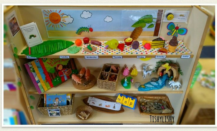 Story shelves including our new novel study The Hungry Caterpillar
