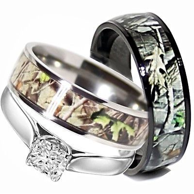 His Titanium Camo Hers Stainless Steel Wedding Rings Set Camouflage Black 3pcs | eBay
