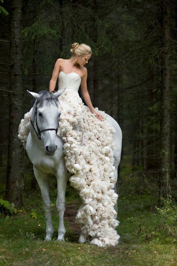 Whimsical Dresses From Leila Hafzi White Horses Wedding