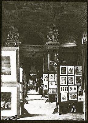 Alfred Stieglitz (1864-1946) Jubilee Exhibition (Berlin) Main Hall 1889 transparency, gelatin on glass (lantern slide) 6.1 x 4.4 cm. George Eastman House.