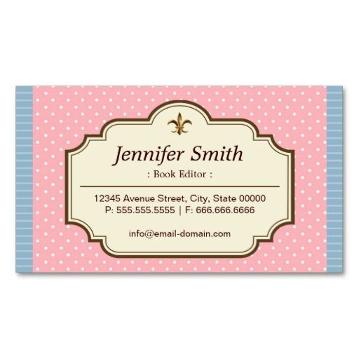 217 best editor business cards images on pinterest business cards book editor cute polka dots business card reheart Gallery