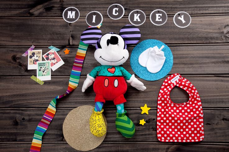 Oh Mickey- available now at thespecialdeliverycompany.com.au Disney by Britto Large (40cm) Plush Mickey Mouse featuring 12 different fabrics. (Safe for ages 0 and up.) Alimrose Designs Red & white Polka Dots bib, and Marquise white mittens