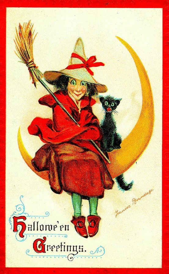 vintage halloween card - Vintage Halloween Witches