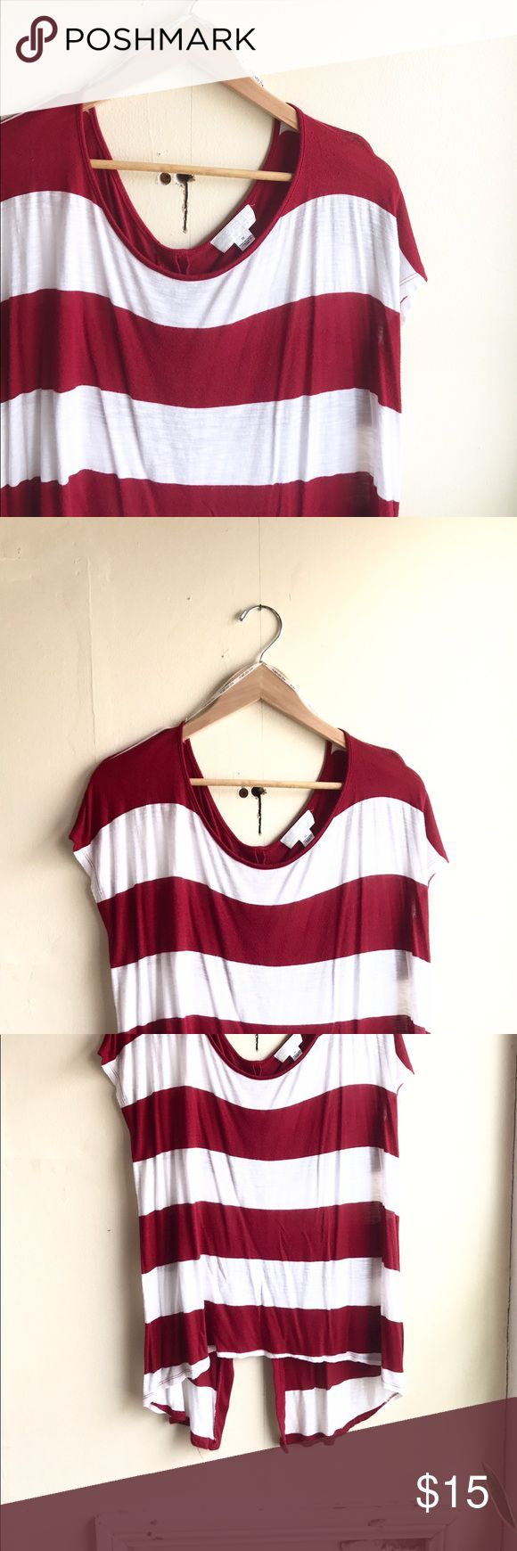 """Like new▪️Nautical Striped Slouchy Tee (plus) Hello Spring! This great top will be a perfect transition piece for spring and summer. High-low hemline with a button up closure on the back. Seriously how cute is it? Bust: 22"""" flat 