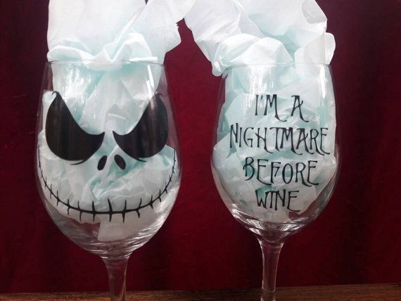 DIY Nightmare Before Wine Decorated Wine Glass Decal Jack Skellington Inspired Halloween Christmas Holiday Decor Gift