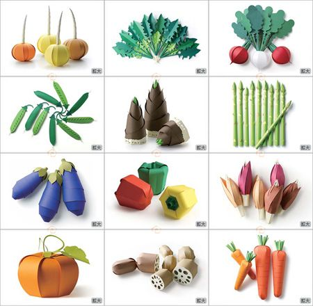 Beautifully designed veggie papercrafts from Sasatoku Printing . To print on color paper.