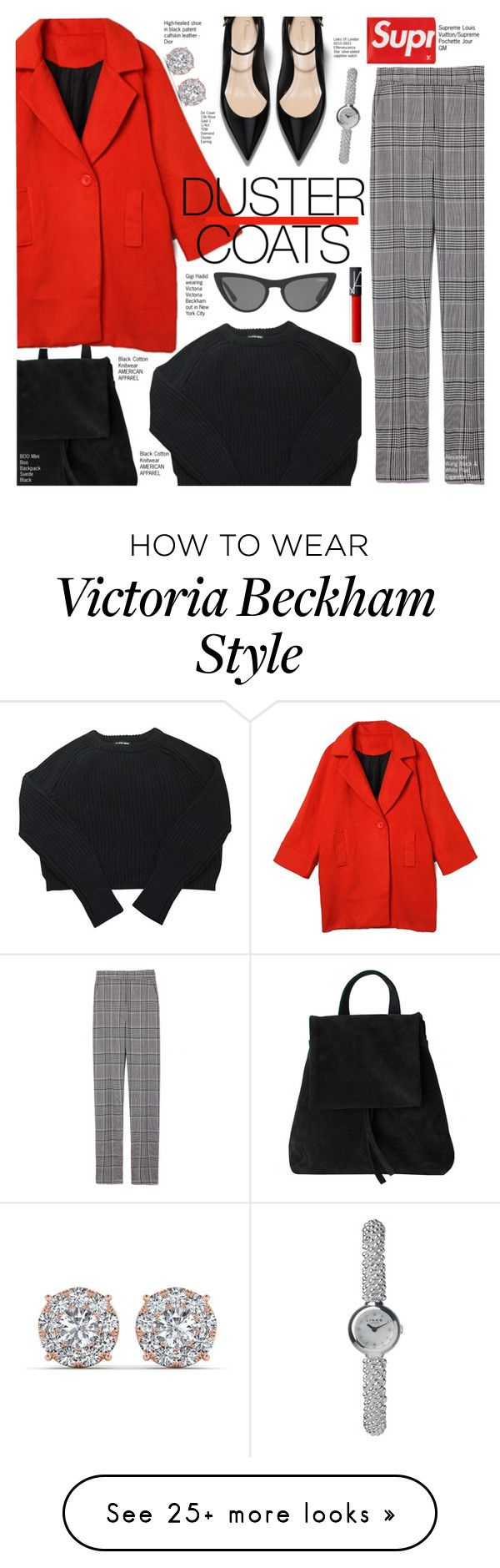"""""""Red Duster Coat"""" by voguefashion101 on Polyvore featuring Boo, American Apparel, Alexander Wang, Louis Vuitton, Links of London and Victoria, Victoria Beckham"""