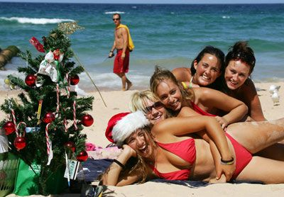 Christmas Day is usually a boiling hot summers day - A lot of people hang out at the beach