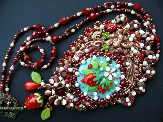 Seed beaded embroidered Pendant Spring necklace by MaewaDesign