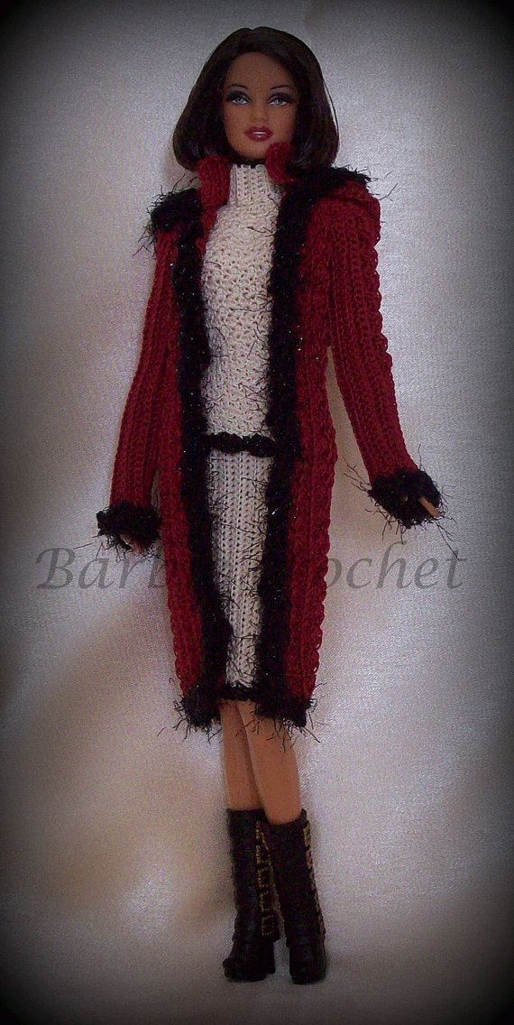 The jacket crochet for Barbie has been carefully laid out to the edges from a particular yarn of wool. The jacket has a hood that makes the dress