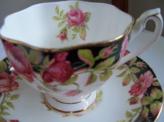 QUEEN ANNE fine bone china Black Majic pattern from the 1940s