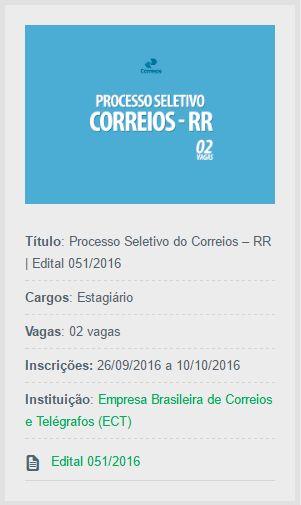 Abertas as inscrições do Processo Seletivo do Correios – RR, que tem o objetivo de admitir estagiários em Boa Vista.