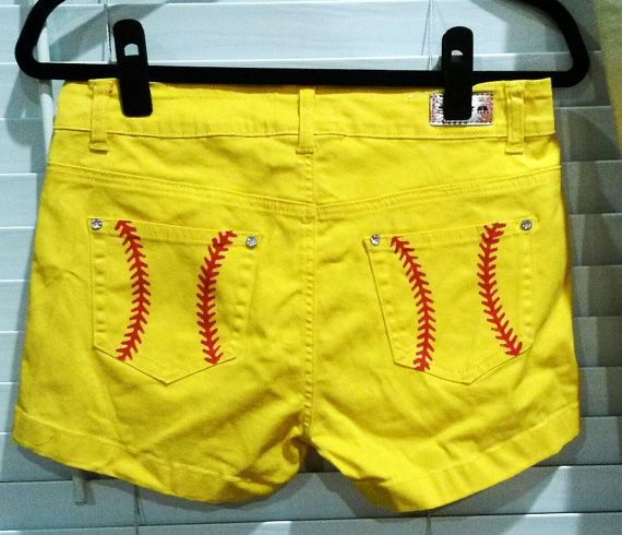 Cute Hand Painted Yellow Softball Shorts by karricouture on Etsy, $35.00