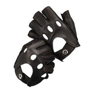 Fingerless leather driving gloves. Pretty much de rigueur for anyone battling zombie hordes or chasing dystopian berserkers, say, in a black Pursuit Special.