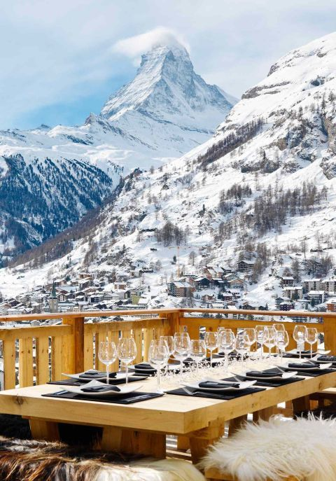Six of the seven bedrooms in this Swiss Alps chalet have undisturbed views of the Matterhorn mountain. The lowest of the chalet's three floors features one of the most enviable spa areas found in the Alps, including a sauna, Hammam steam room, a massage room. via HomeAway