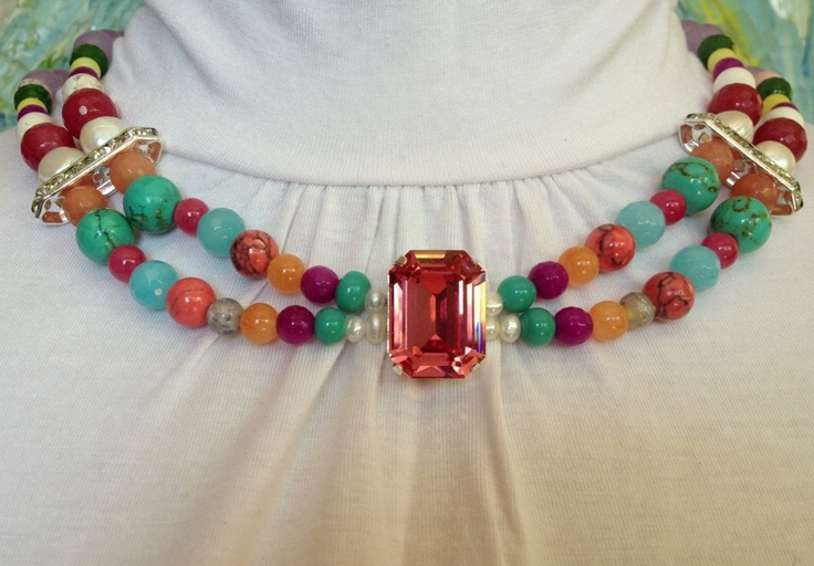 $80.00 Dusty pink Swarovski crystal with multicolored semi precious stones