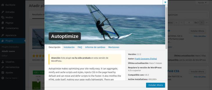 Optimizar WordPress para una carga rápida con Autoptimize tutoriales Wordpress blog css google html javascript plugins wordpress