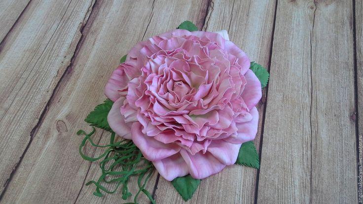 """Купить Брошь-зажим для волос """"Роза"""" - розовый, винтажная роза, розы ручной работы"""
