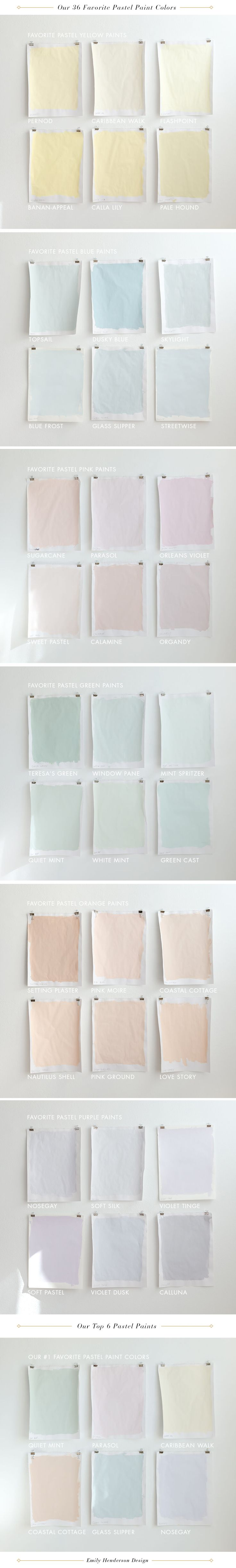 Emily Henderson's 36 all time favorite pastel paints for the home.