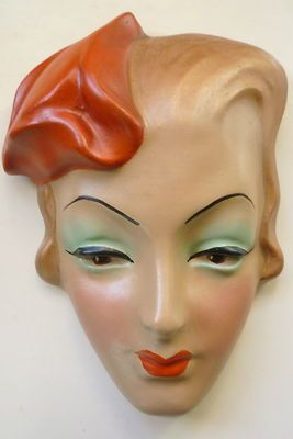 Quirky Deco Style Wall Mask Face Plaque Plaster Chalkware Reproduction | eBay