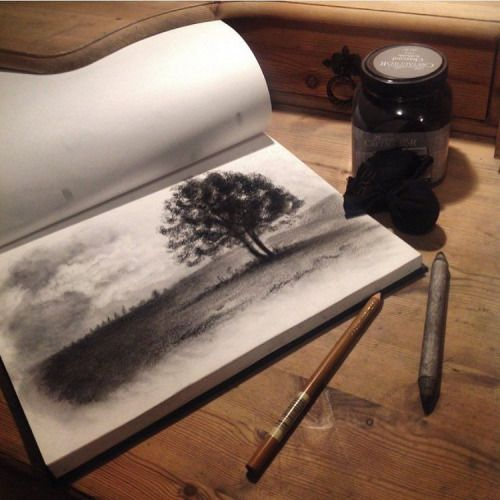 Charcoal landscape sketch by artist @charcoal_n_stuff...