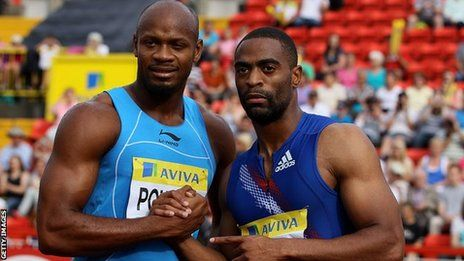 US sprinter Tyson Gay and Jamaica's former 100m world record holder Asafa Powell have failed drug tests. Gay, 30, the joint-second fastest man over 100m, was notified by the US Anti-Doping Agency on Friday that his A sample from an out-of-competition test in May had returned a positive. The management company for Powell confirmed the 30-year-old had tested positive for a banned substance. Another Jamaican sprinter, Sherone Simpson, has also failed a drug test.