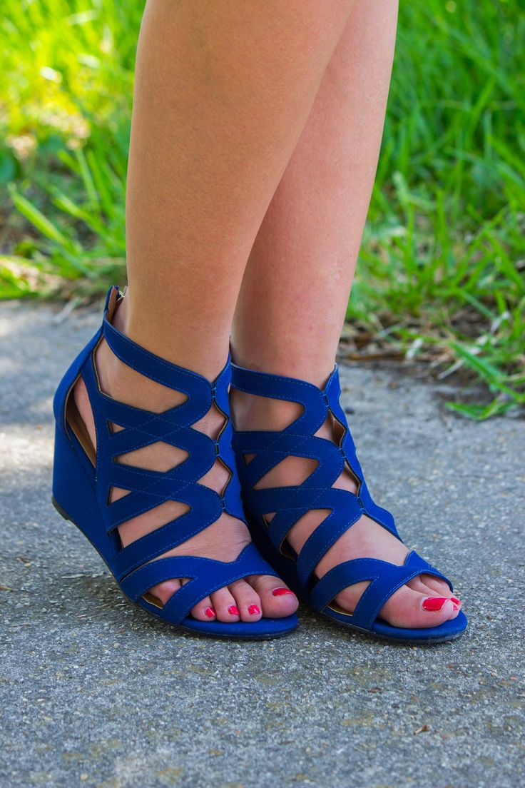 No Contest Wedge Sandals: Royal Blue