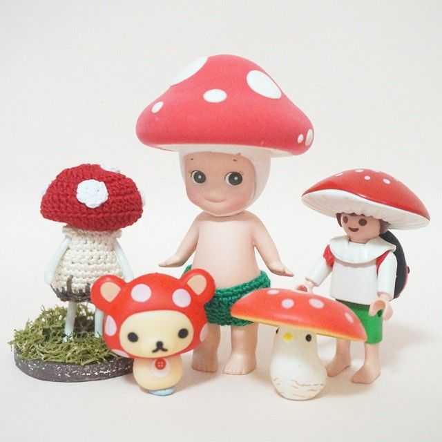 안씨님이 클레이 커스텀 해준 버섯 #소니엔젤 아톰님 독버섯 의상 입고 있는 #포춘완다 독버섯 #버섯잉꼬 귀여운 #플레이모빌 #버섯요정 그리고 #코리락쿠마 땡땡이 버섯 독버섯이라고 하지만 나에겐 빨간 땡땡이 버섯