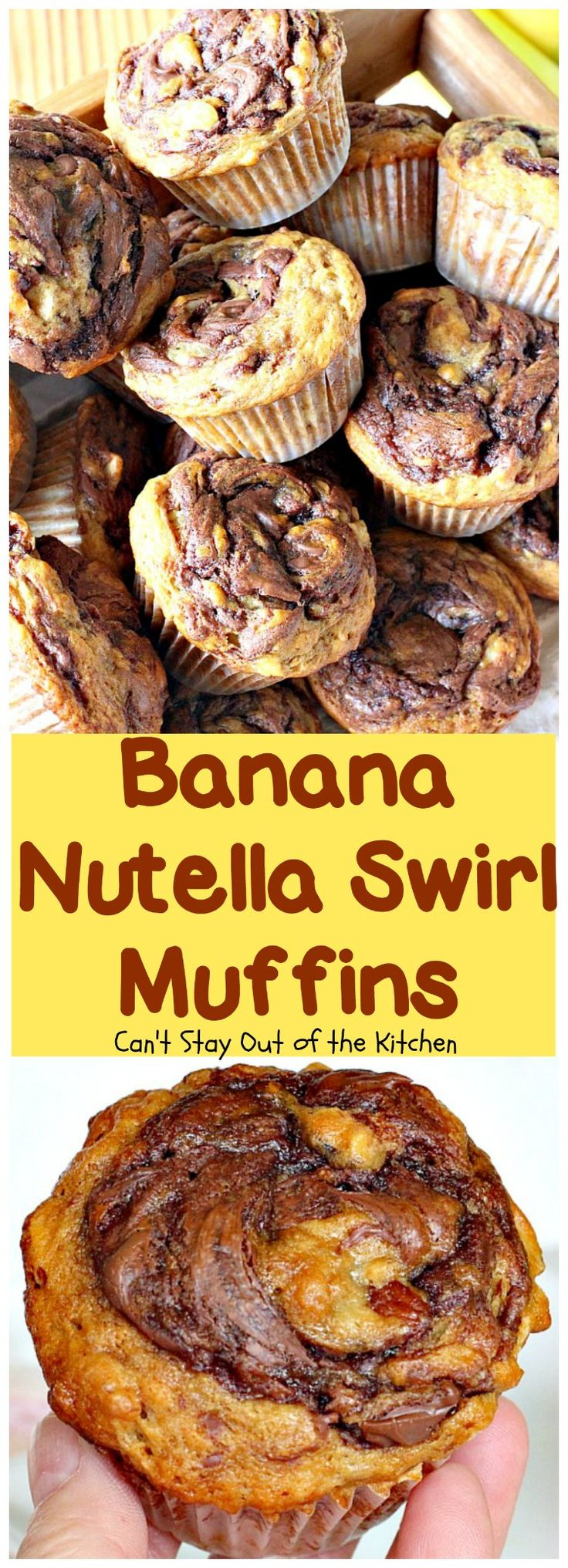 Banana Nutella Swirl Muffins | Can't Stay Out of the Kitchen | these #muffins are divine! You won't be able to stop eating them. Great for a #holiday #breakfast, too. #bananas #almonds #nutella