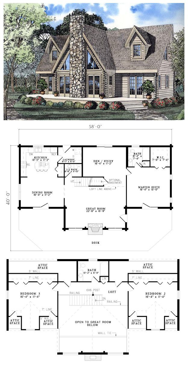 Log Style House Plan 61105 with 3 Bed, 3 Bath