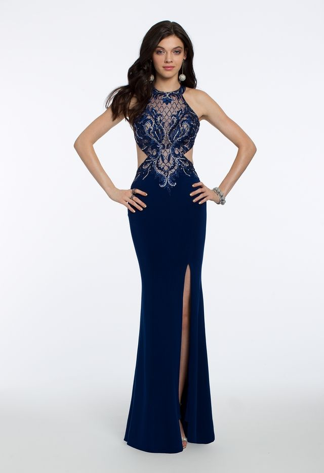 This gorgeous evening gown will make everyone say ooh la la! With its  illusion neckline 1141a9e45