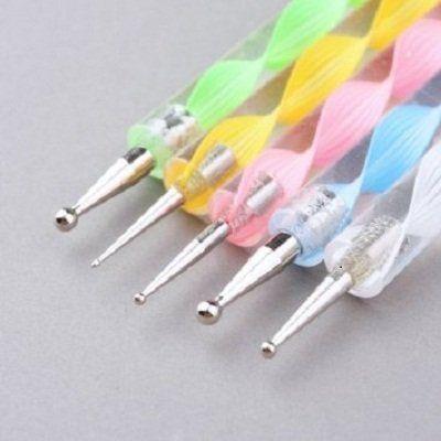 Le meilleur cadeau de Noël Choix sur la promotion ~Nail Arts Lot de 05 stylos à deux extrémités pour pointillage et marbrage
