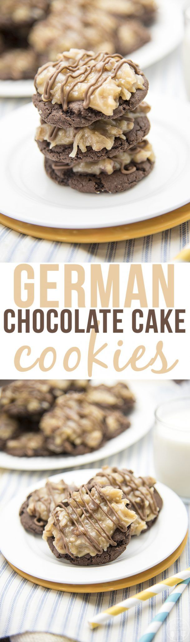 German Chocolate Cake Cookies - these amazing cookies start with a cake mix cookie base, topped with a delicious homemade coconut pecan frosting and a drizzle of chocolate for one of the best cookies ever!