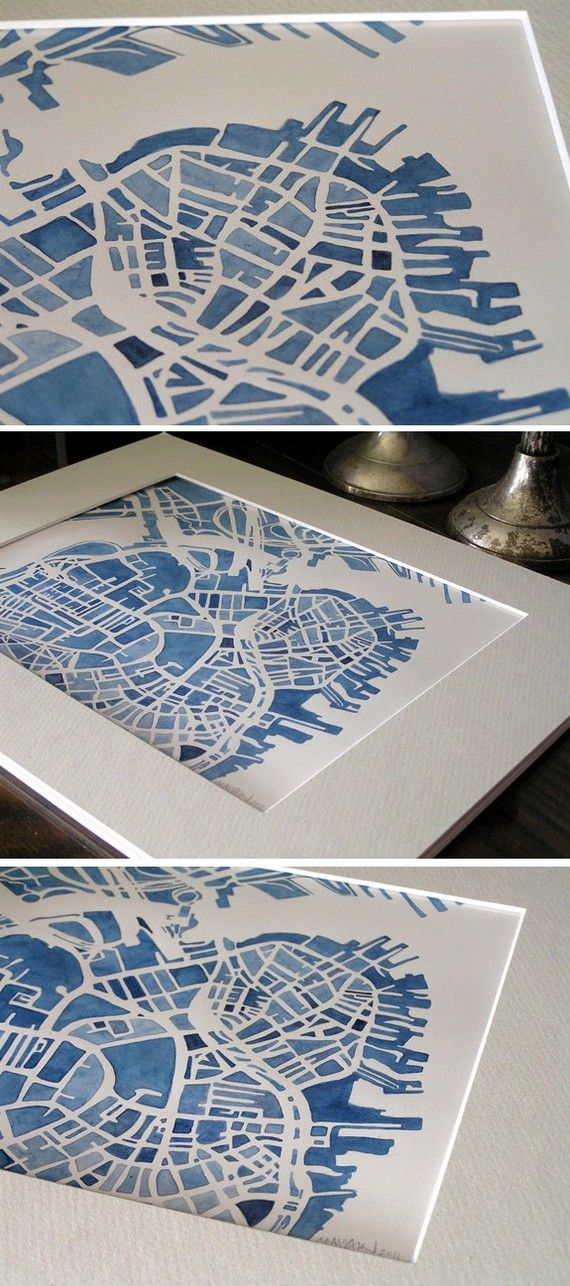 watercolor boston city #map