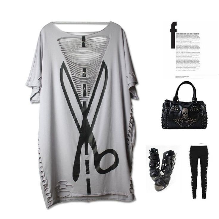 2016 PUNK ROCK nova Fashiong verão womens tops plus size escavar sexy tee camisetas em Camisetas de Das mulheres Roupas & Acessórios no AliExpress.com | Alibaba Group